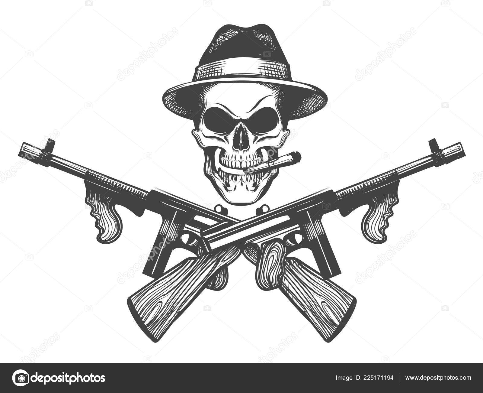 45068640bca95 Gangster Skull Tattoo Death Head Cigar Hat Crossed Submachine Guns — Stock  Vector