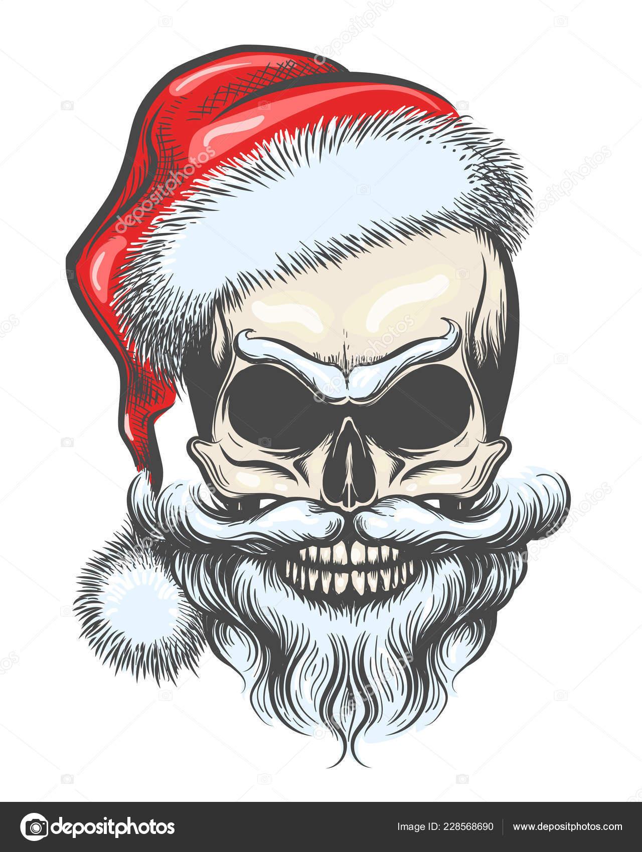 Bearded Skull Santa Claus Hat Drawn Tattoo Style Vector