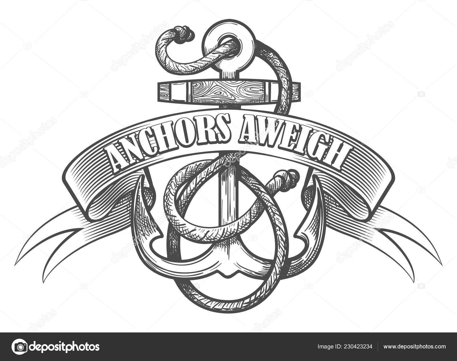 Nautical Anchor Ropes Ribbon Wording Anchors Aweigh Drawn Tattoo