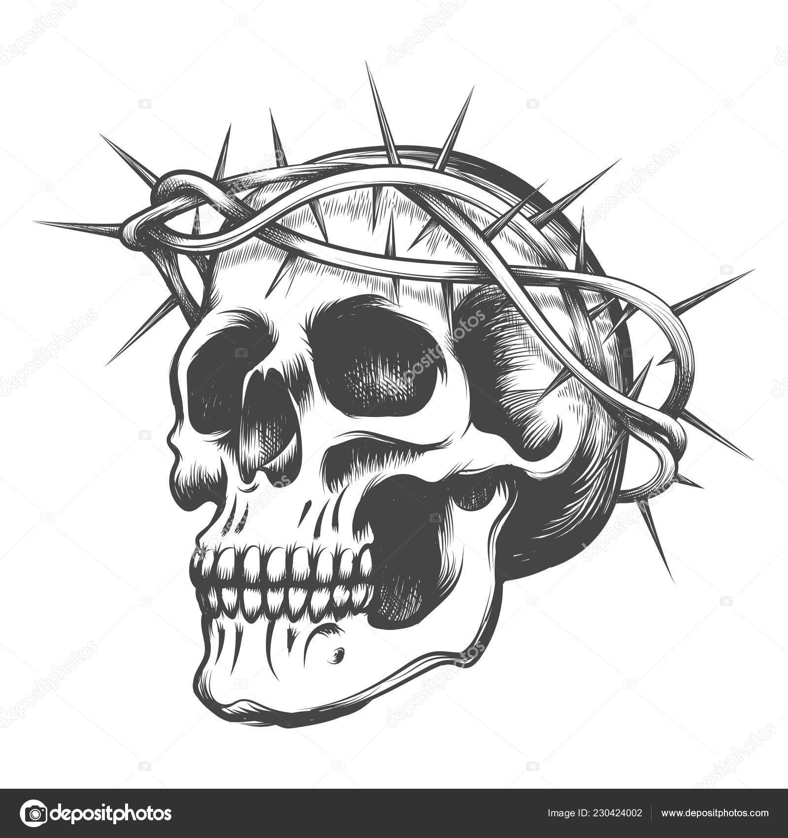 Cráneo Humano Corona Espinas Dibujado Estilo Tatuaje Ilustración