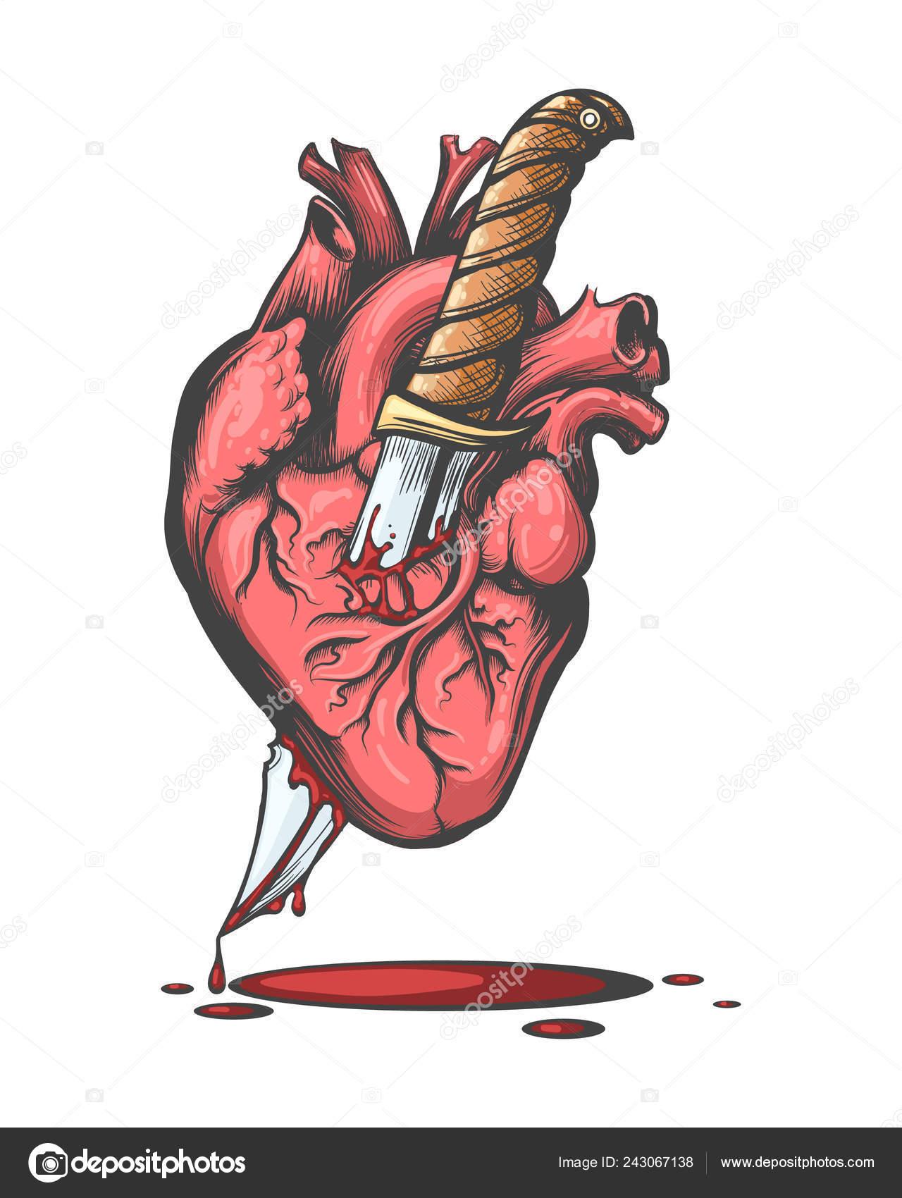 Sangrado Corazón Humano Atravesado Por Cuchillos Estilo Tatuaje