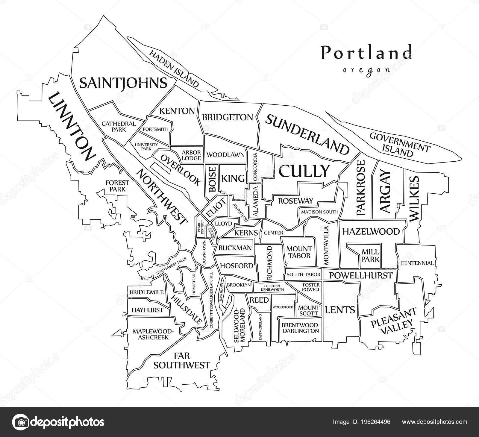 Moderne City Map Portland Oregon Stadt Der Usa Mit Nachbarschaften ...