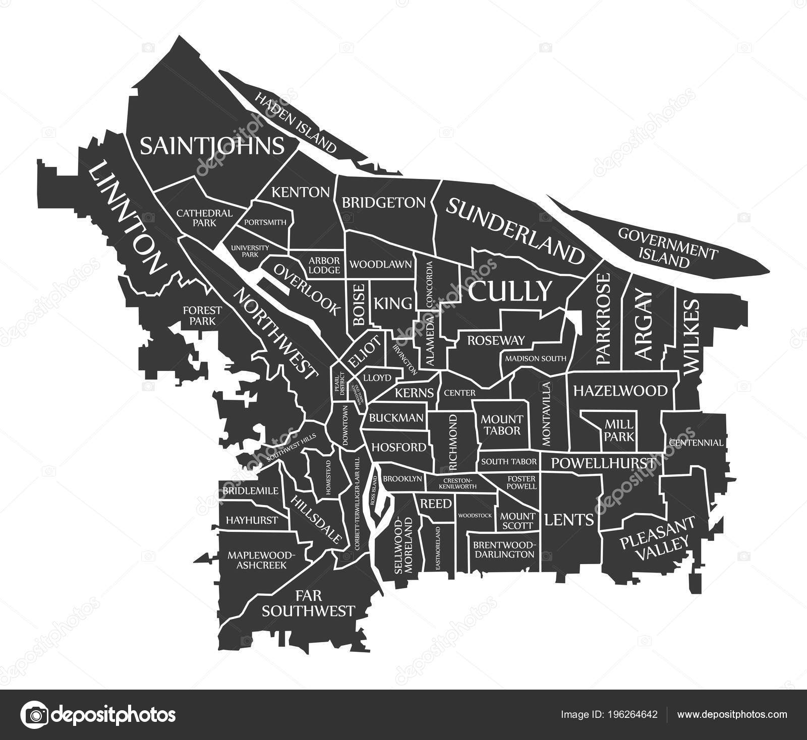 Portland Oregon City Map Usa Labelled Black Illustration — Stock ...