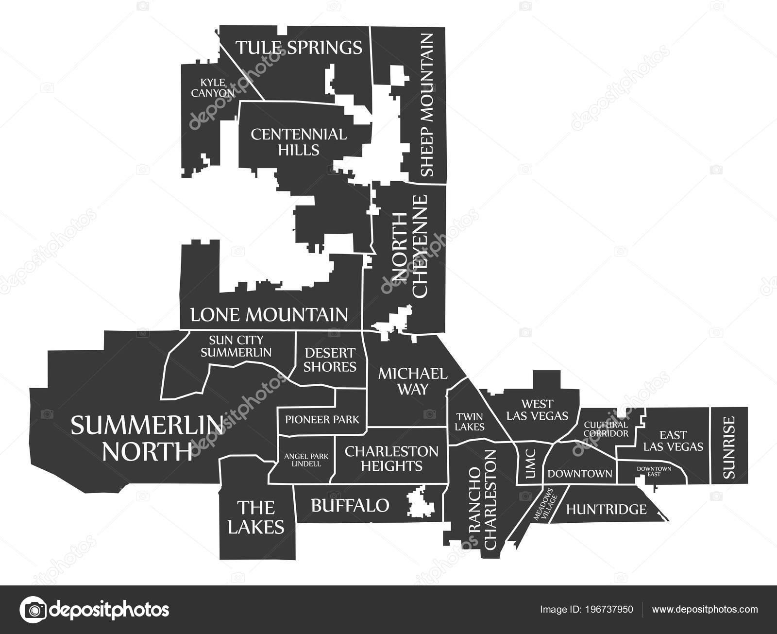 Las Vegas Nevada City Map Usa Labelled Black Illustration — Stock ...