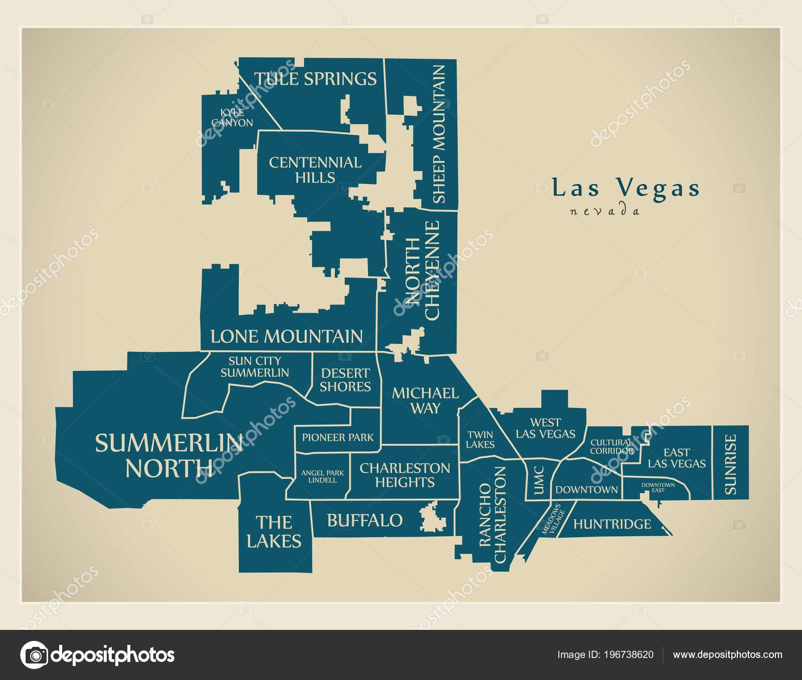 Modern City Map Las Vegas Nevada City Usa Neighborhoods Titles ...