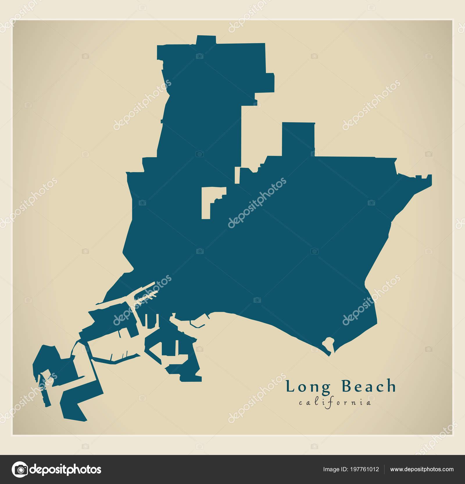 Moderne City Map Long Beach Kalifornien Stadt Der Usa ...