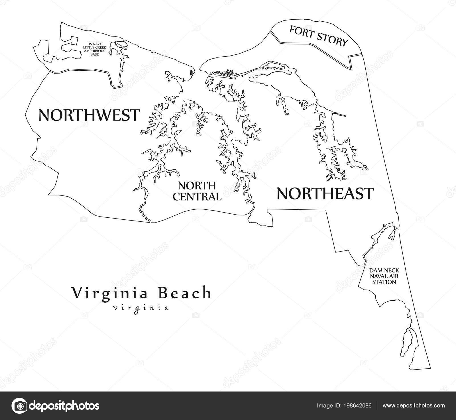 Modern City Map Virginia Beach City Usa Neighborhoods Titles Outline