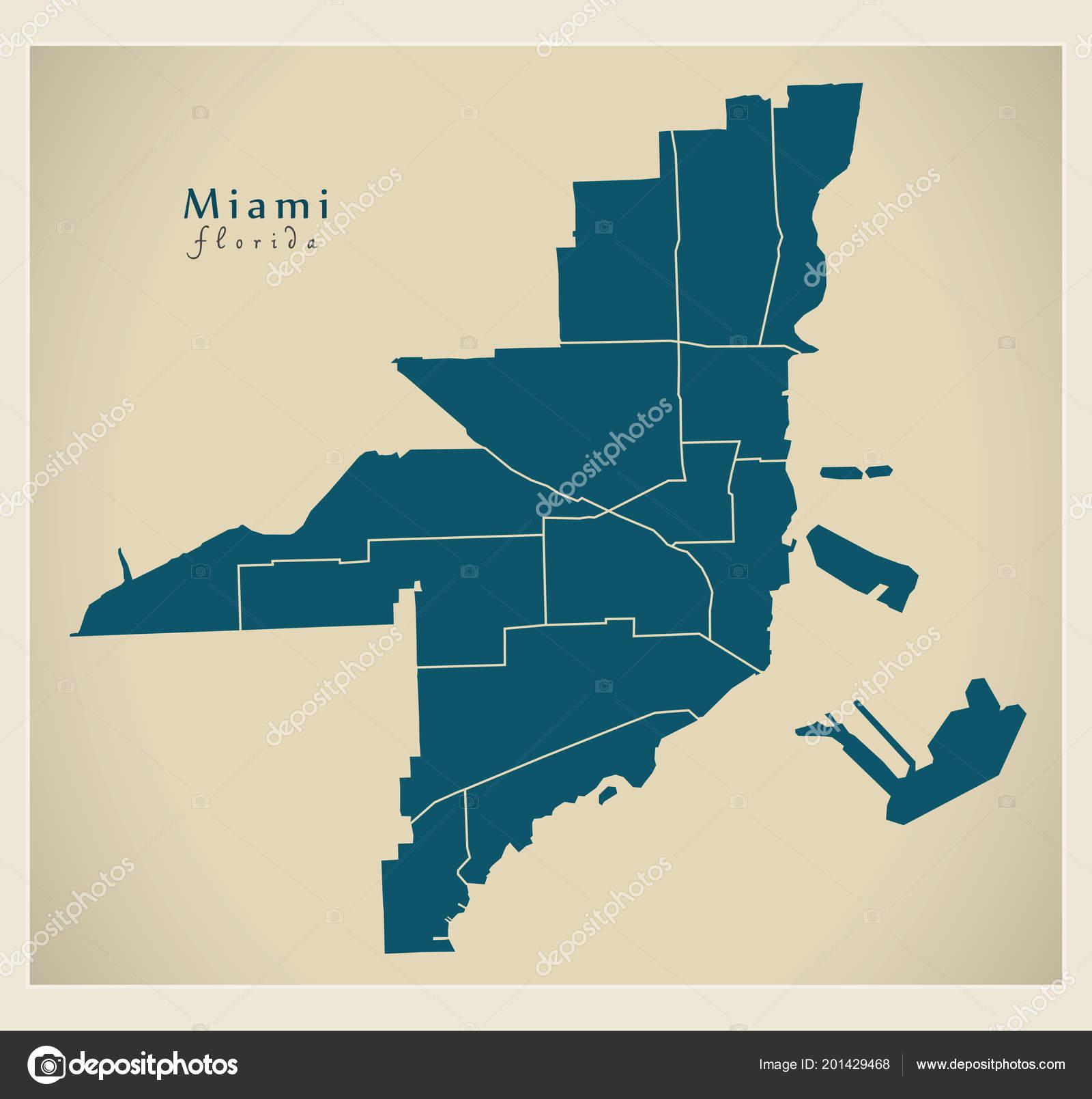Modern City Map Miami Florida City Usa Neighborhoods Stock Vector