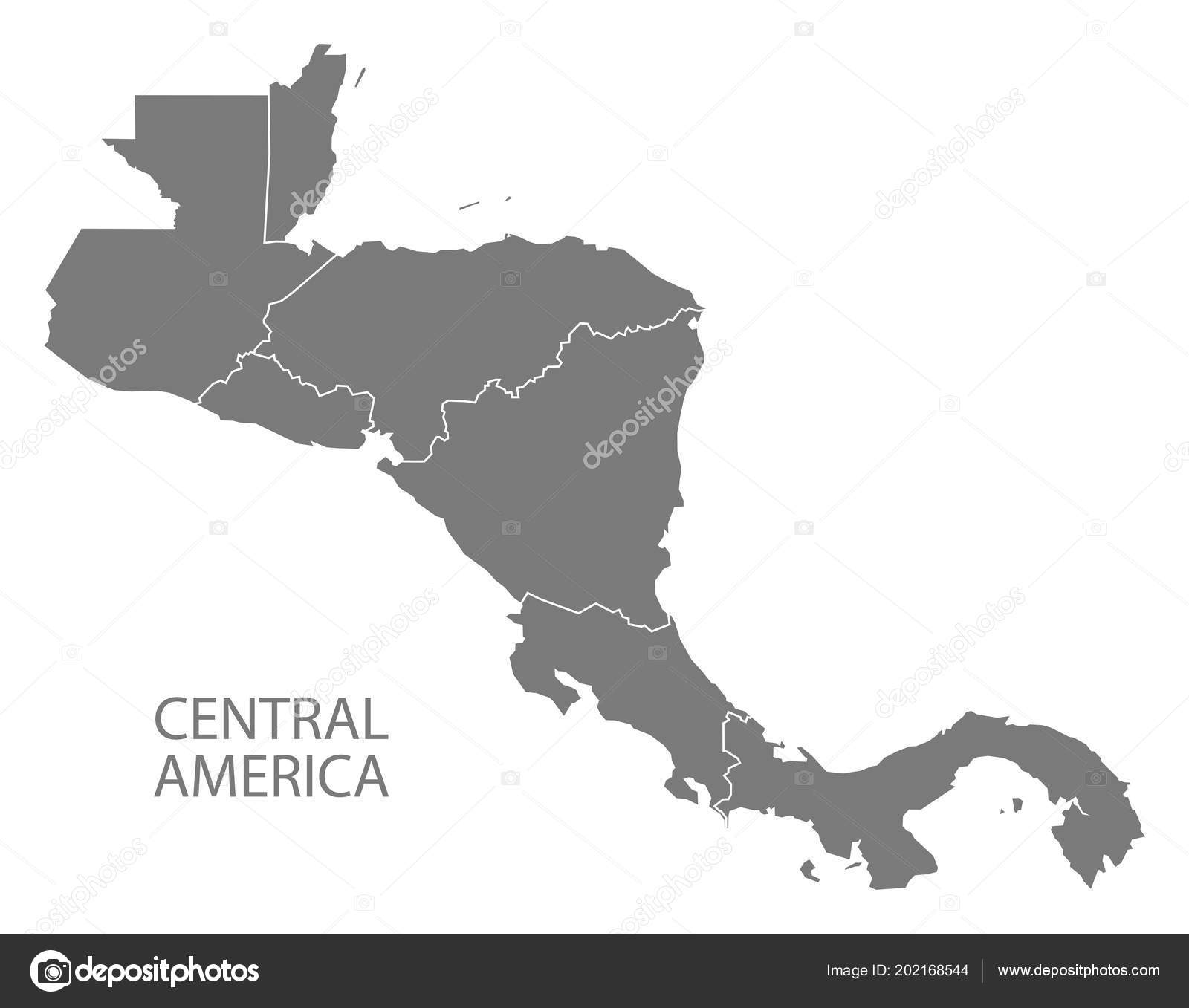 Central America Map Country Borders Grey Illustration ...