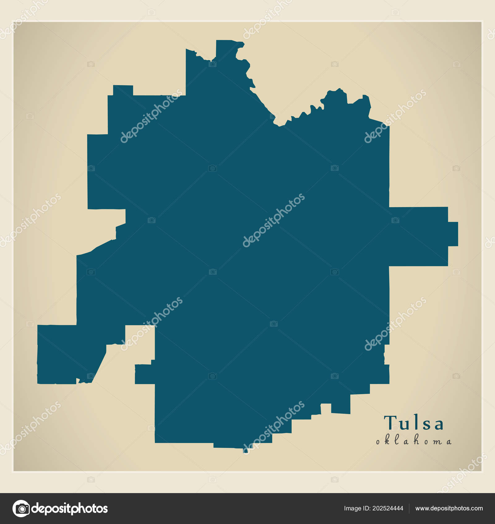 Modern Map - Tulsa Oklahoma city of the USA — Stock Vector ...
