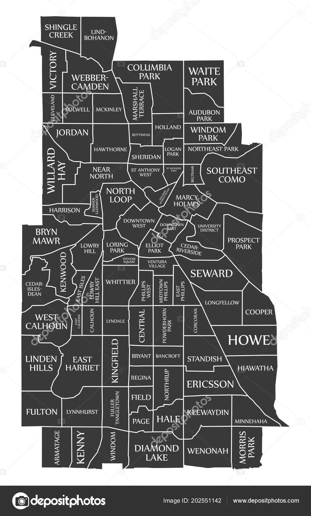 Minneapolis Minnesota City Map Usa Labelled Black ...