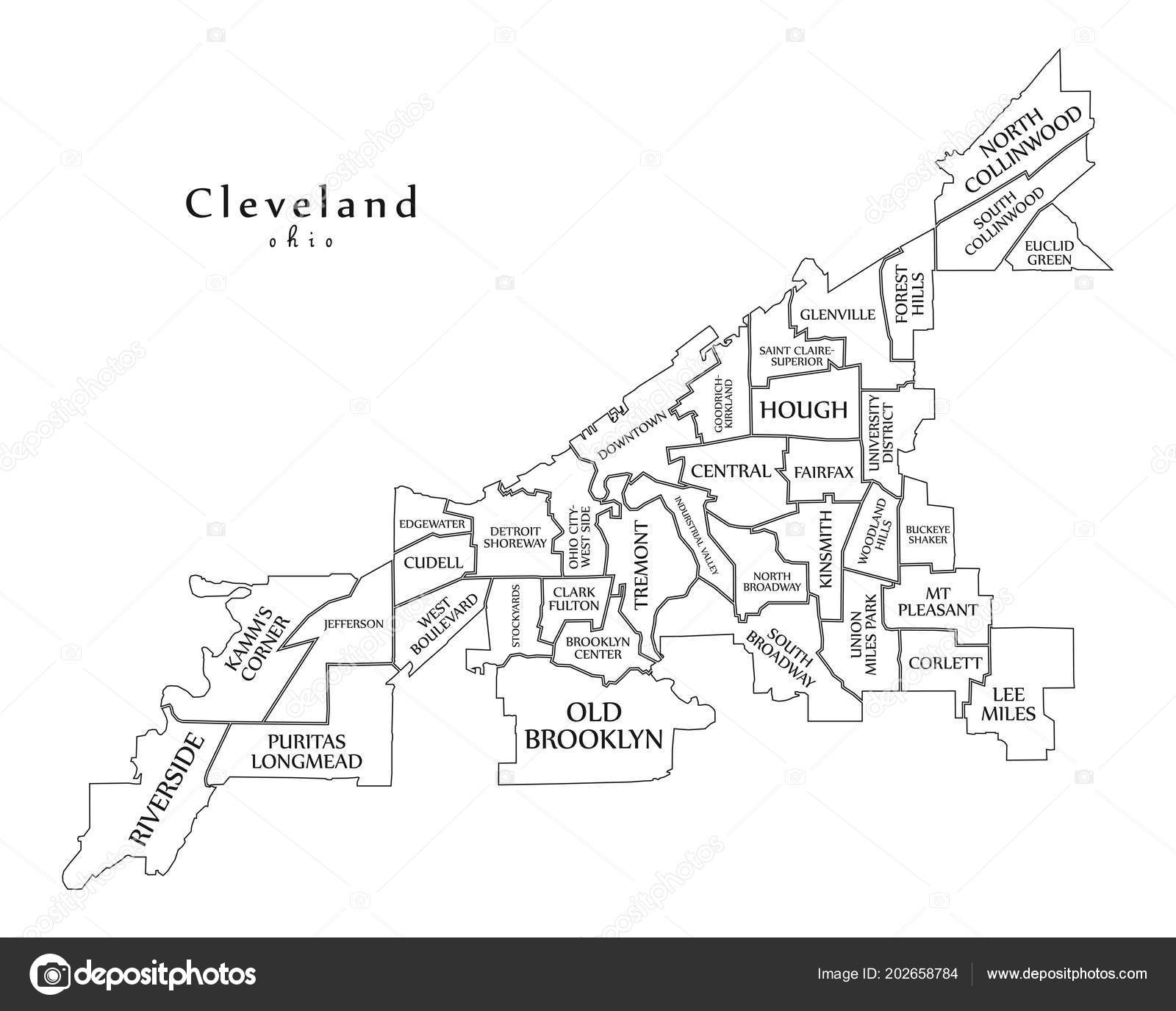 Outline Map Of Ohio.Modern City Map Cleveland Ohio City Usa Neighborhoods Titles Outline