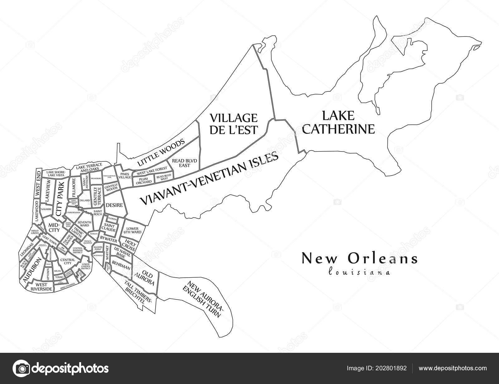 Modern City Map New Orleans Louisiana City Usa Neighborhoods Titles