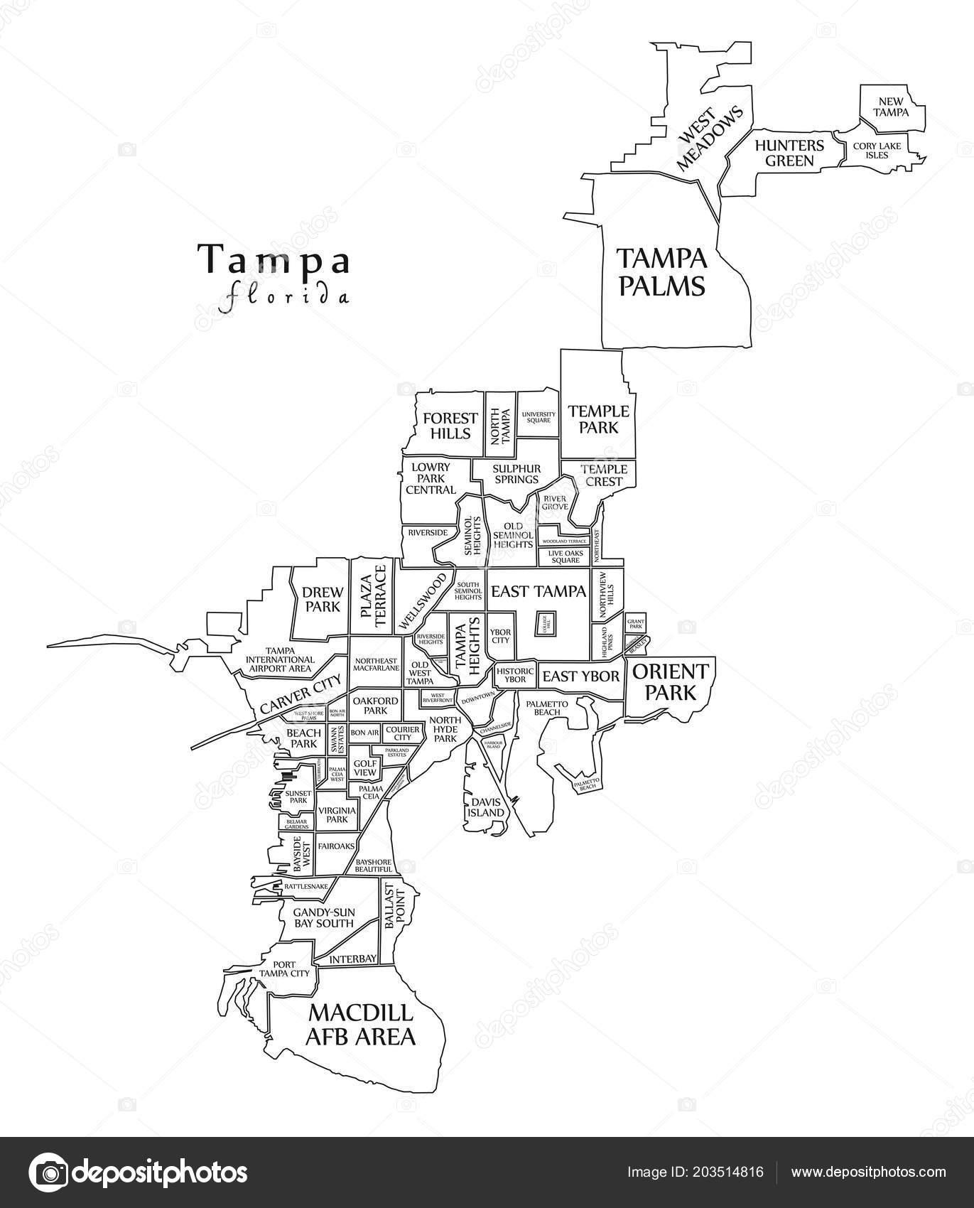 Modern City Map Tampa Florida City Usa Neighborhoods Titles Outline