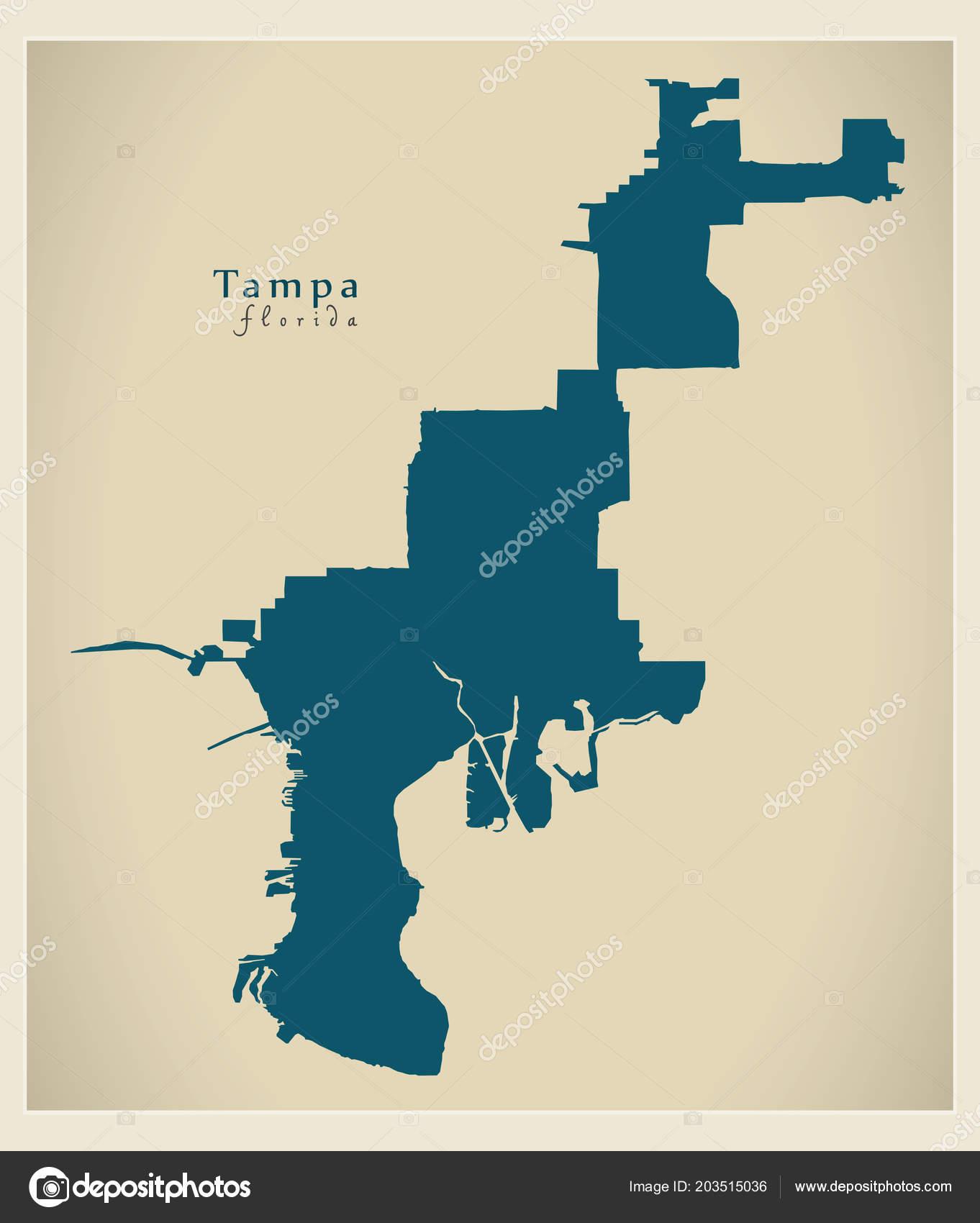Map Tampa Florida.Modern City Map Tampa Florida City Usa Stock Vector C Ingomenhard