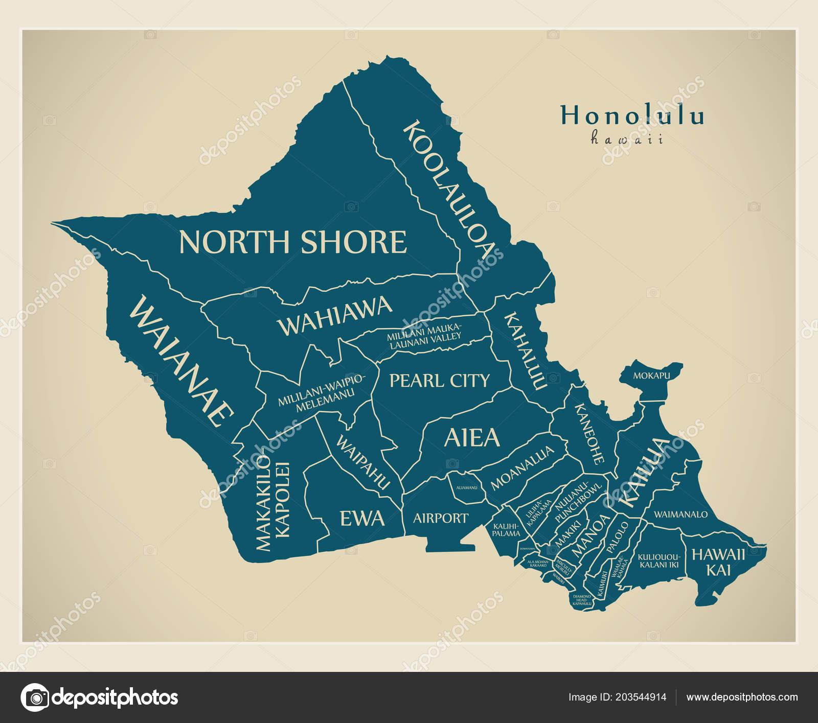 Moderne City Map Honolulu Hawaii Stadt Der Usa Mit Nachbarschaften ...
