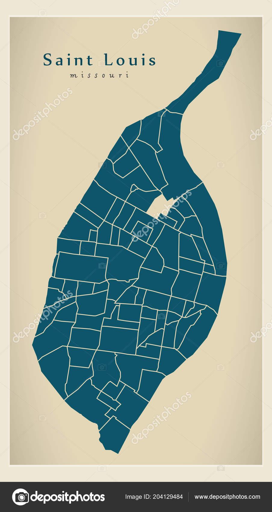 Moderne City Map - Saint Louis Missouri Stadt der Usa mit guter ...