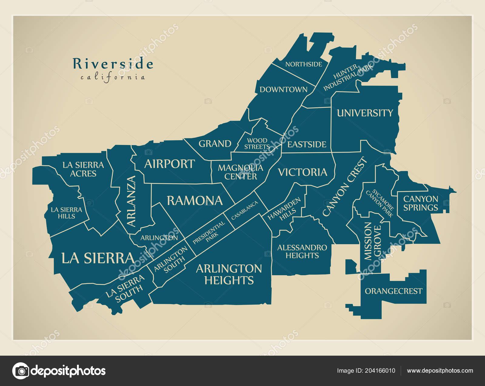 Modern City Map Riverside California City Usa Neighborhoods ...