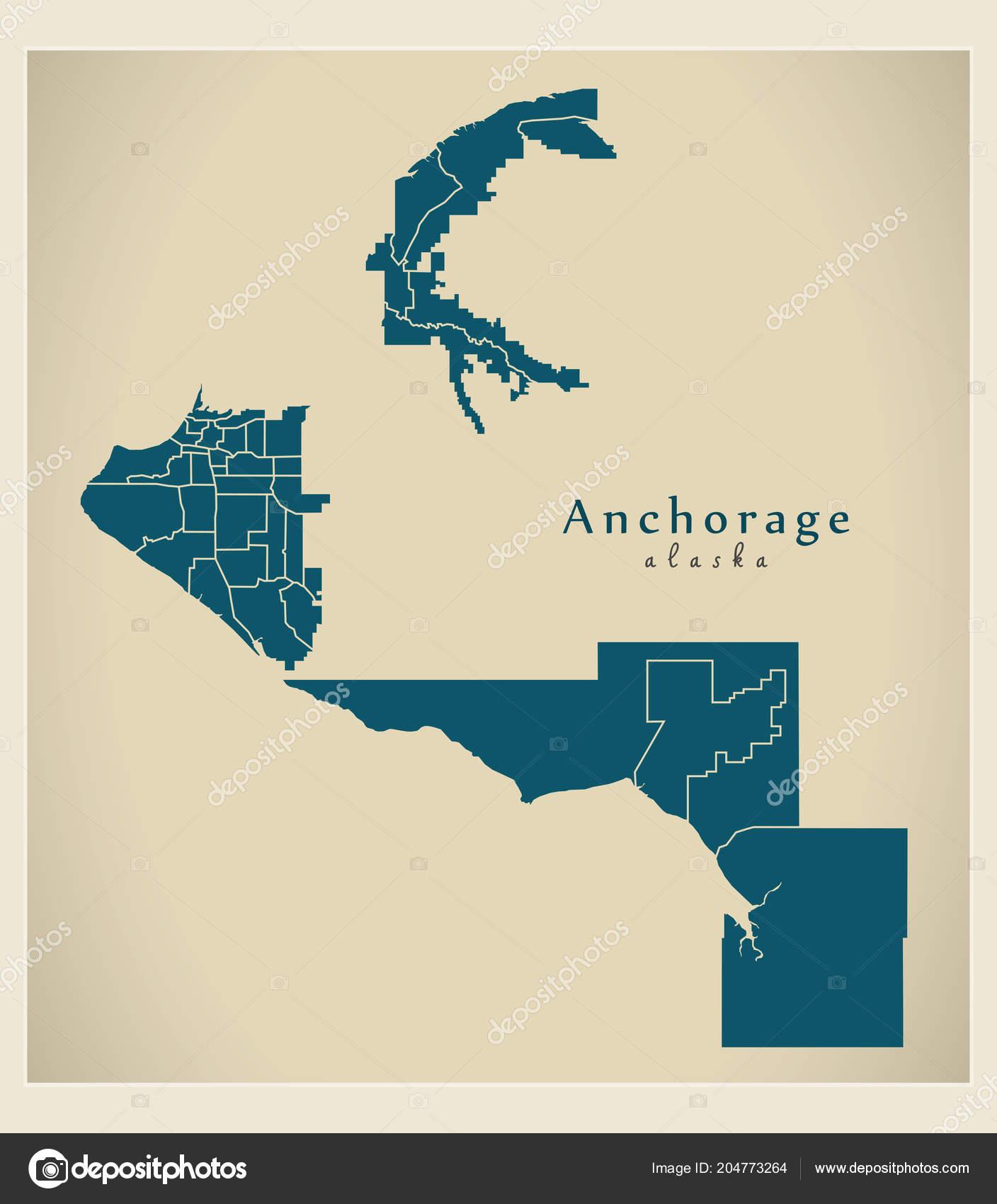 Moderne City Map Anchorage Alaska Stadt Der Usa Mit Nachbarschaften ...