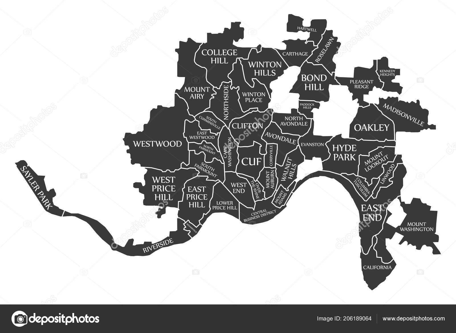 Mapa Ciudad Cincinnati Ohio Usa Etiquetado Negro Ilustracion