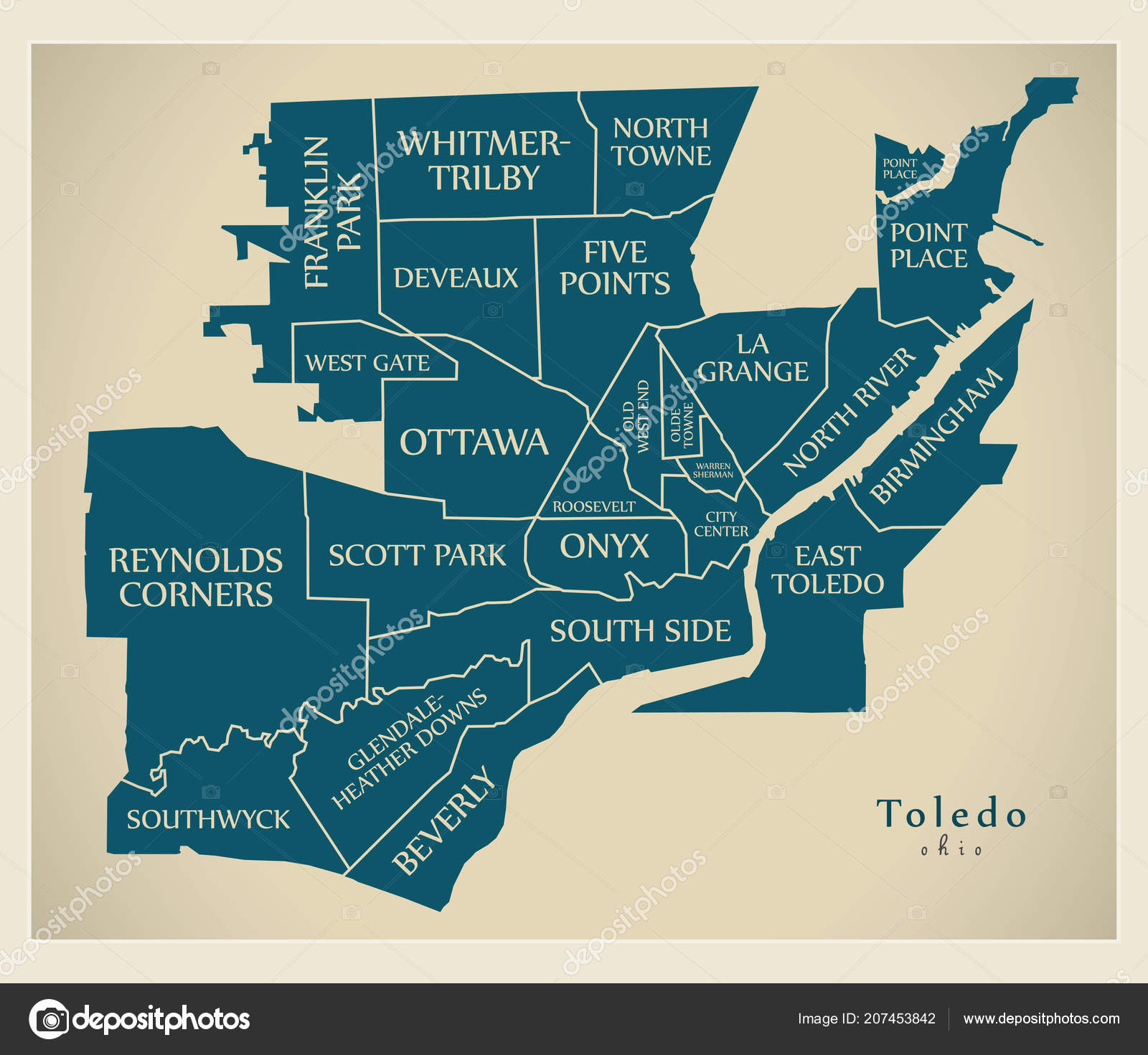 Modern City Map Toledo Ohio city of the USA with neighborhoods