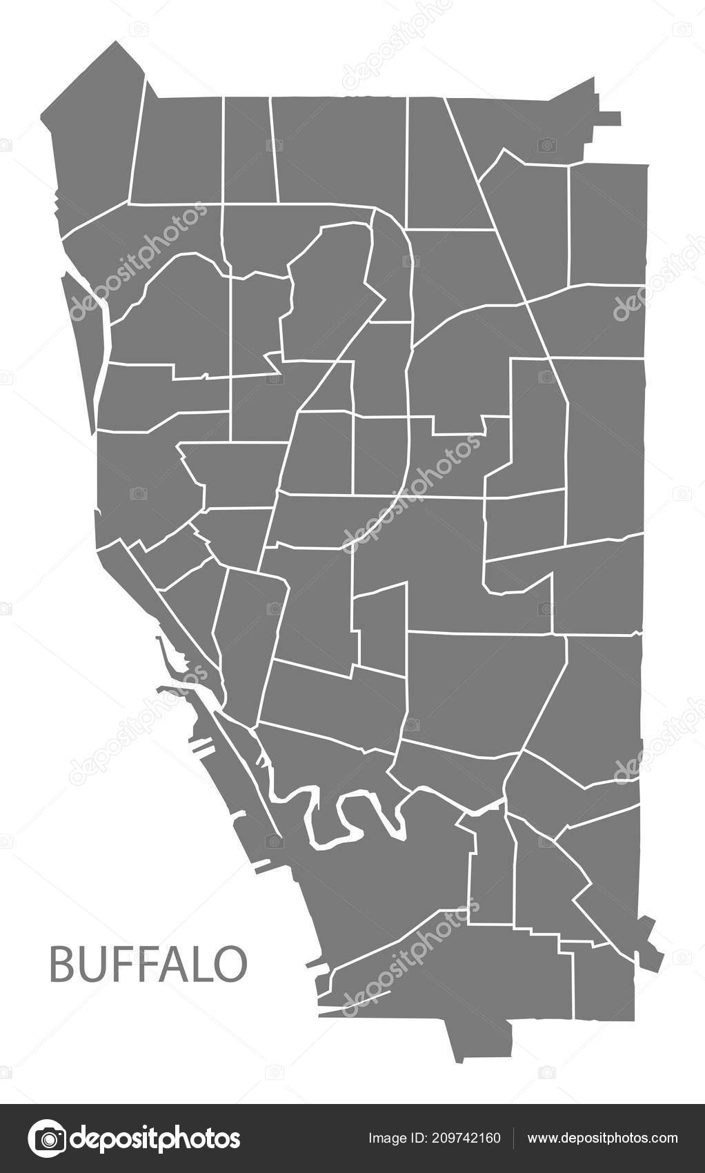 Carte Ville Buffalo.Carte Ville Buffalo New York Avec Quartiers Gris