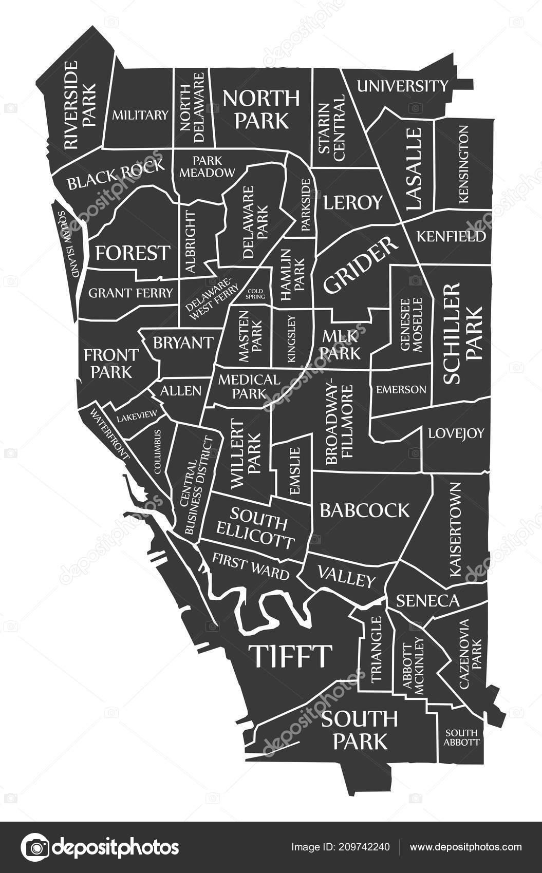 buffalo new york city map usa labelled black illustration– stock  illustration
