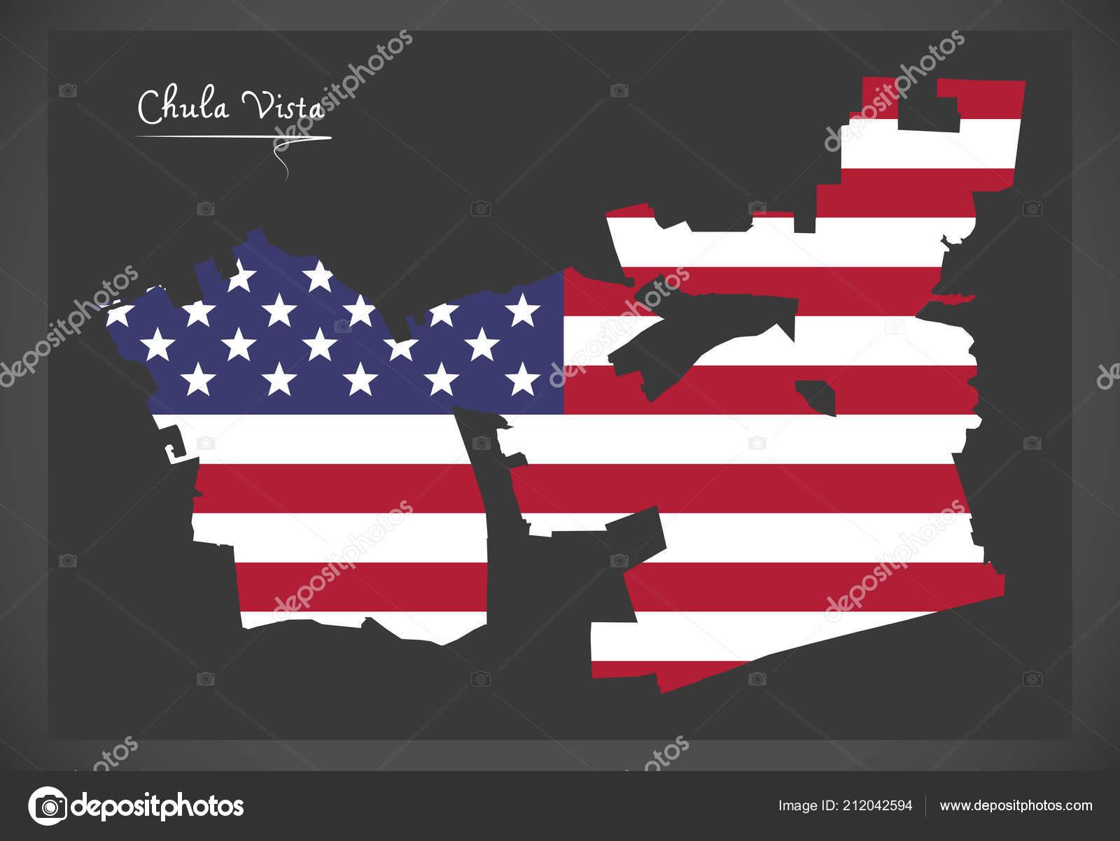 Chula Vista California Map American National Flag Illustration