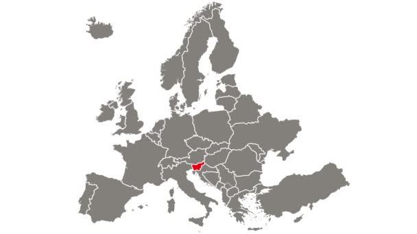 Slovinsko země blikající červená zvýrazněna na mapě Evropy