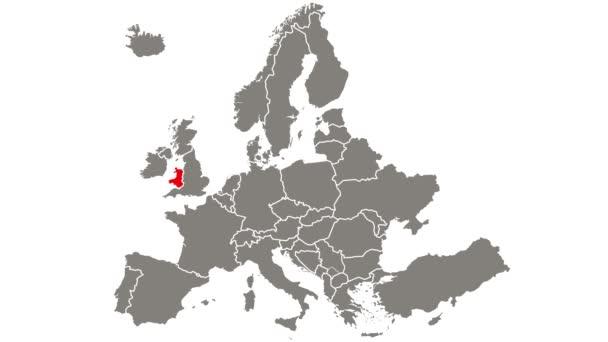 Wales země blikající červená zvýrazněna na mapě Evropy