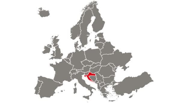 Chorvatsko země blikající červená zvýrazněná na mapě Evropy