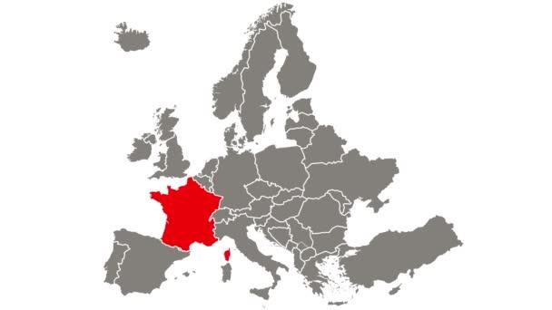 Francie země blikající červená zvýrazněná na mapě Evropy