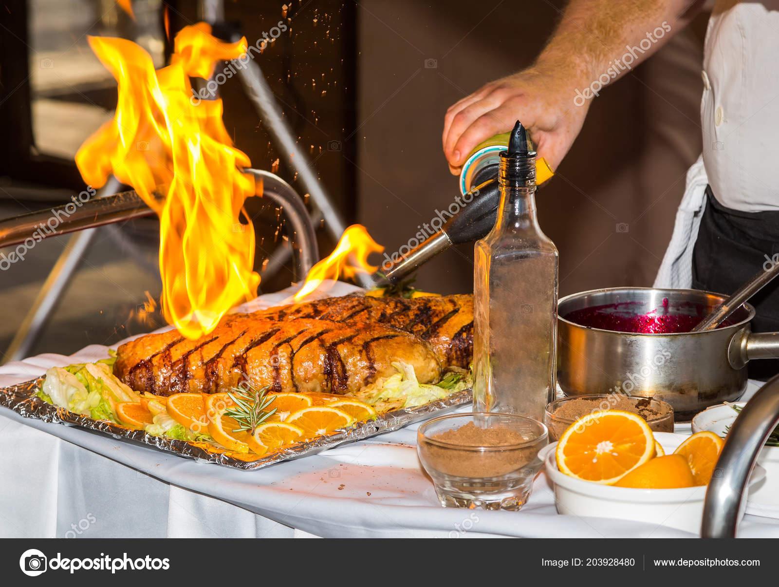 Professional Chef Prepares Meat Dish Mini Torch Open Flame ...