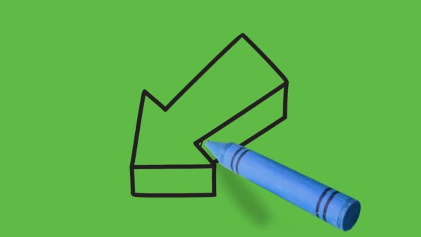 drawing of an left downward arrow on green background