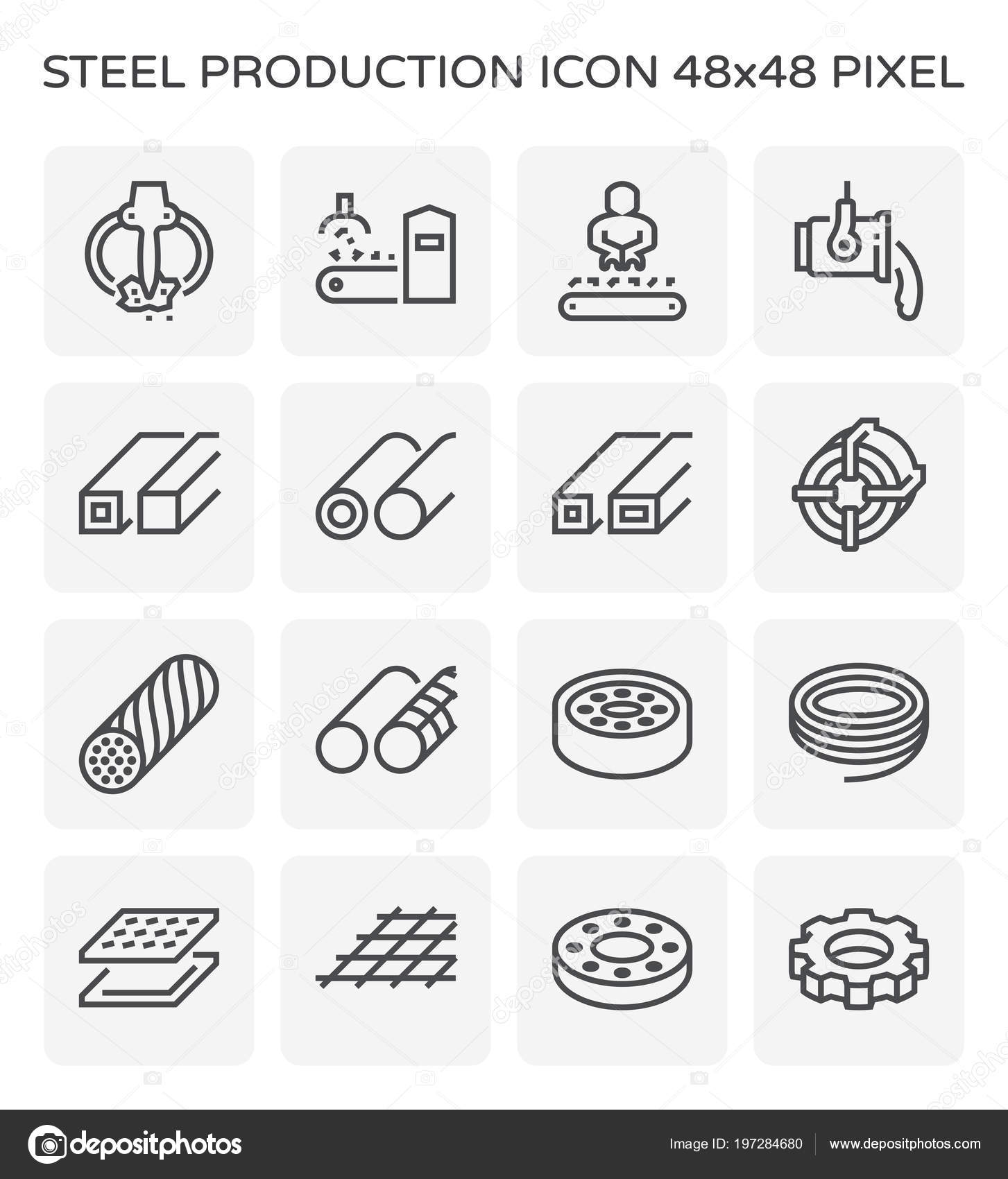 Steel Metal Production Industry Icon Set 64X64 Pixel Perfect