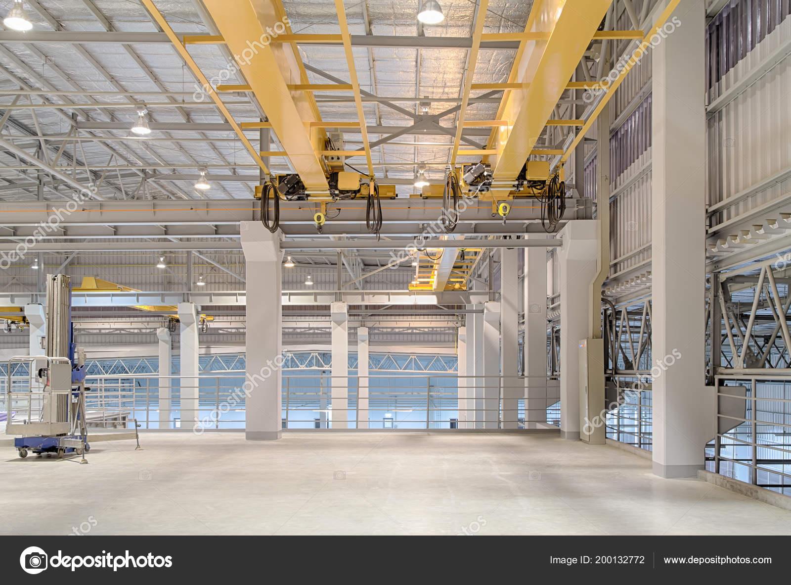Overhead Crane Concrete Floor Factory Building Background