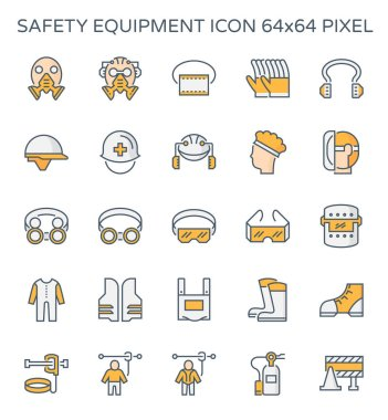 Safety equipment and tool icon set, 64x64 perfect pixel and editable stroke. stock vector