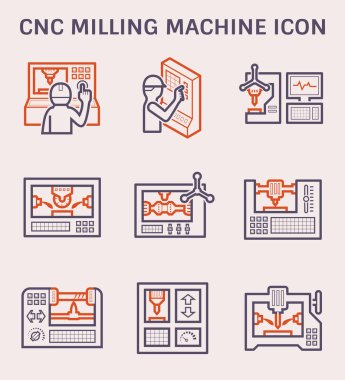 Cnc milling machine icon set for mechanical engineering work design.