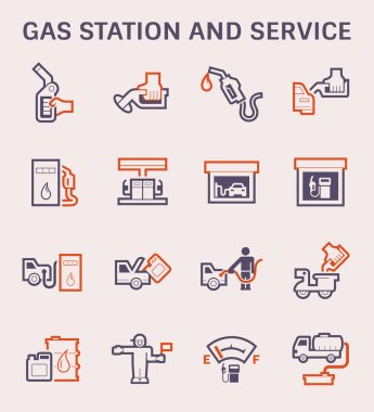 Gas station and vehicle icon set, color and outline.