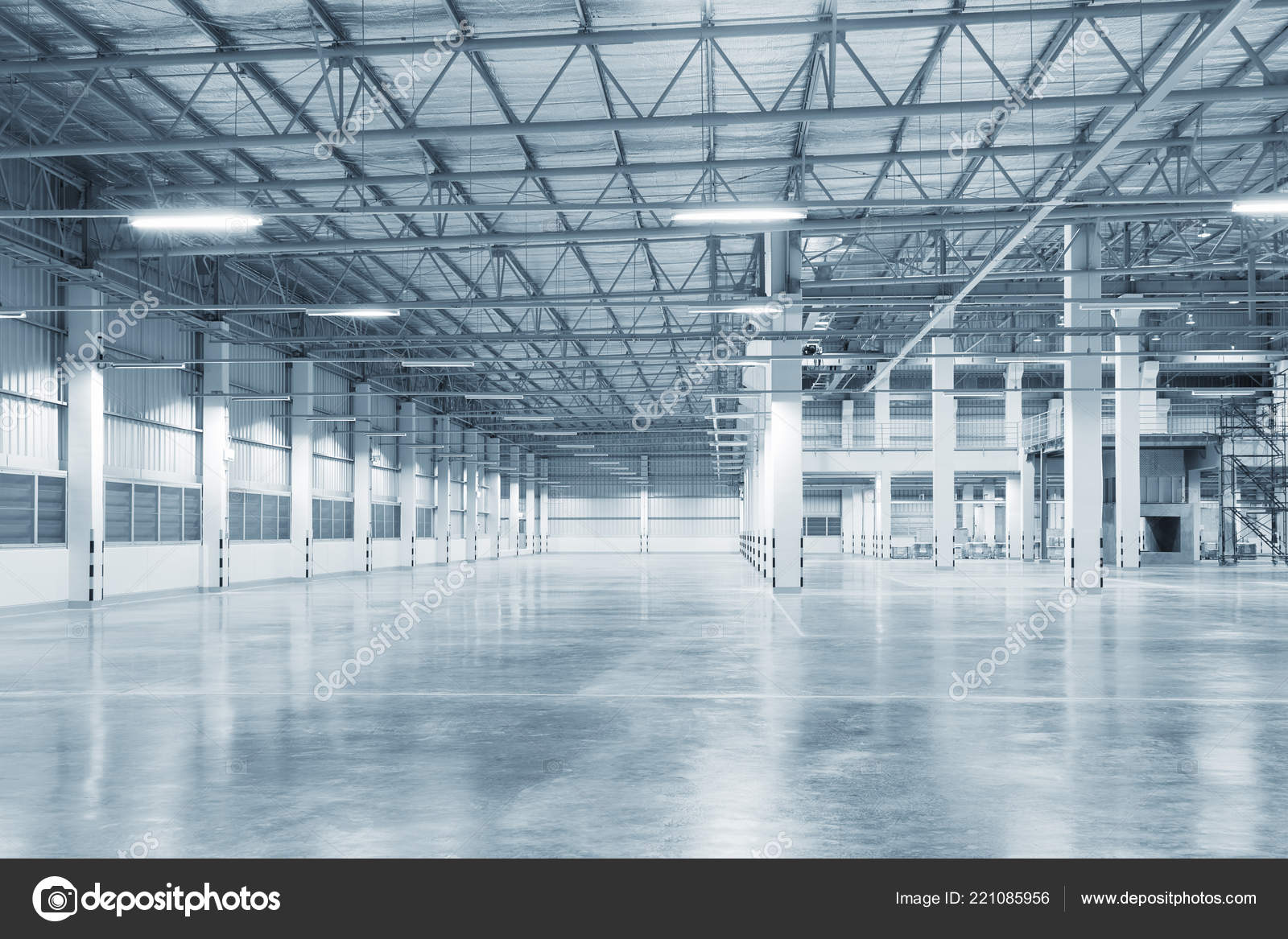 Empty Factory Building Warehouse Building Concrete Floor