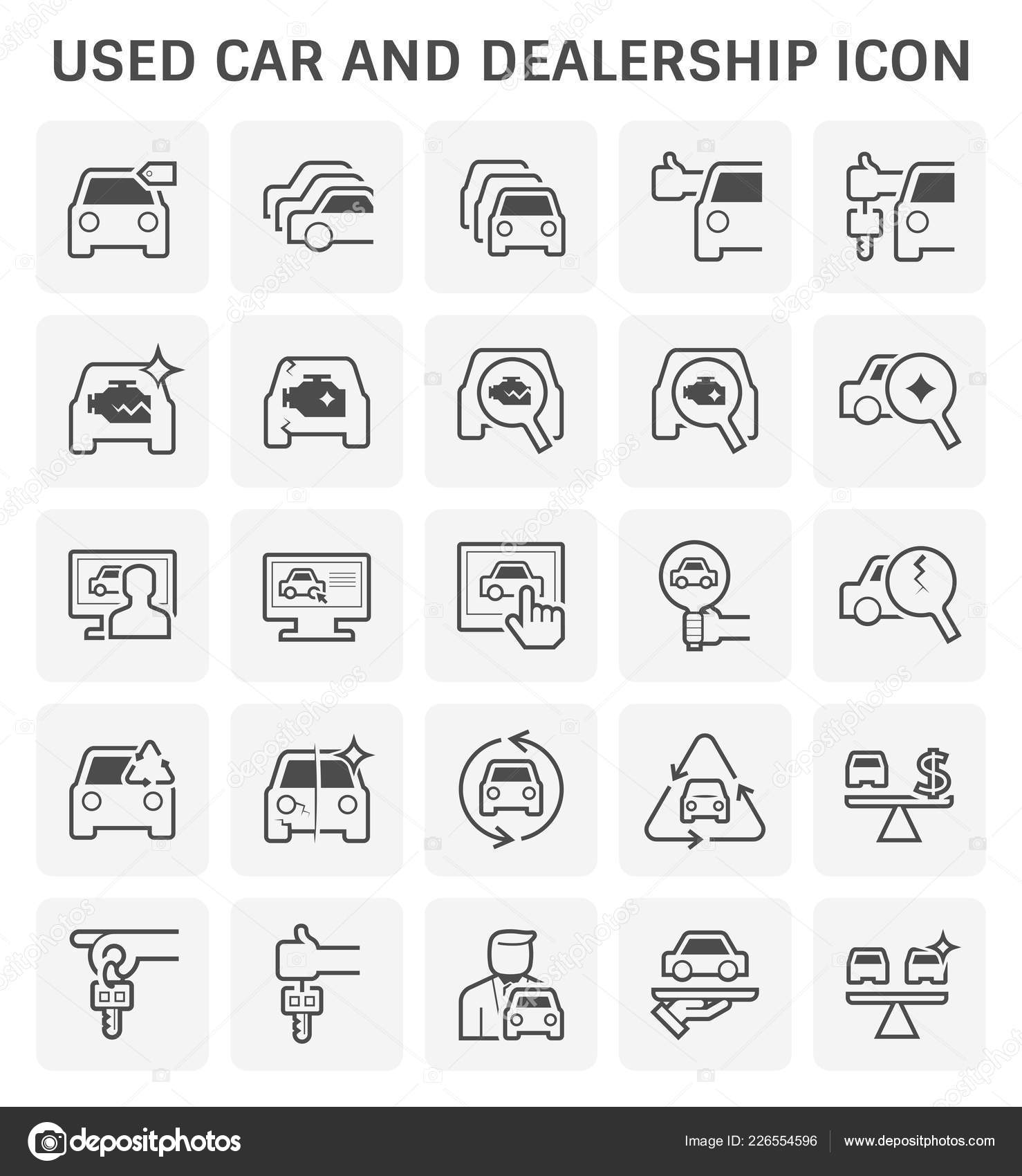 Used Car Dealership Icon Set Used Car Business Design Stock Vector