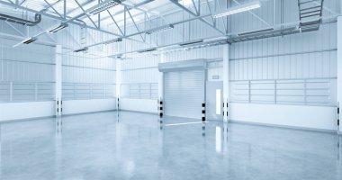 3D rendering of factory  building with concrete floor and shutter door for industrial background. stock vector