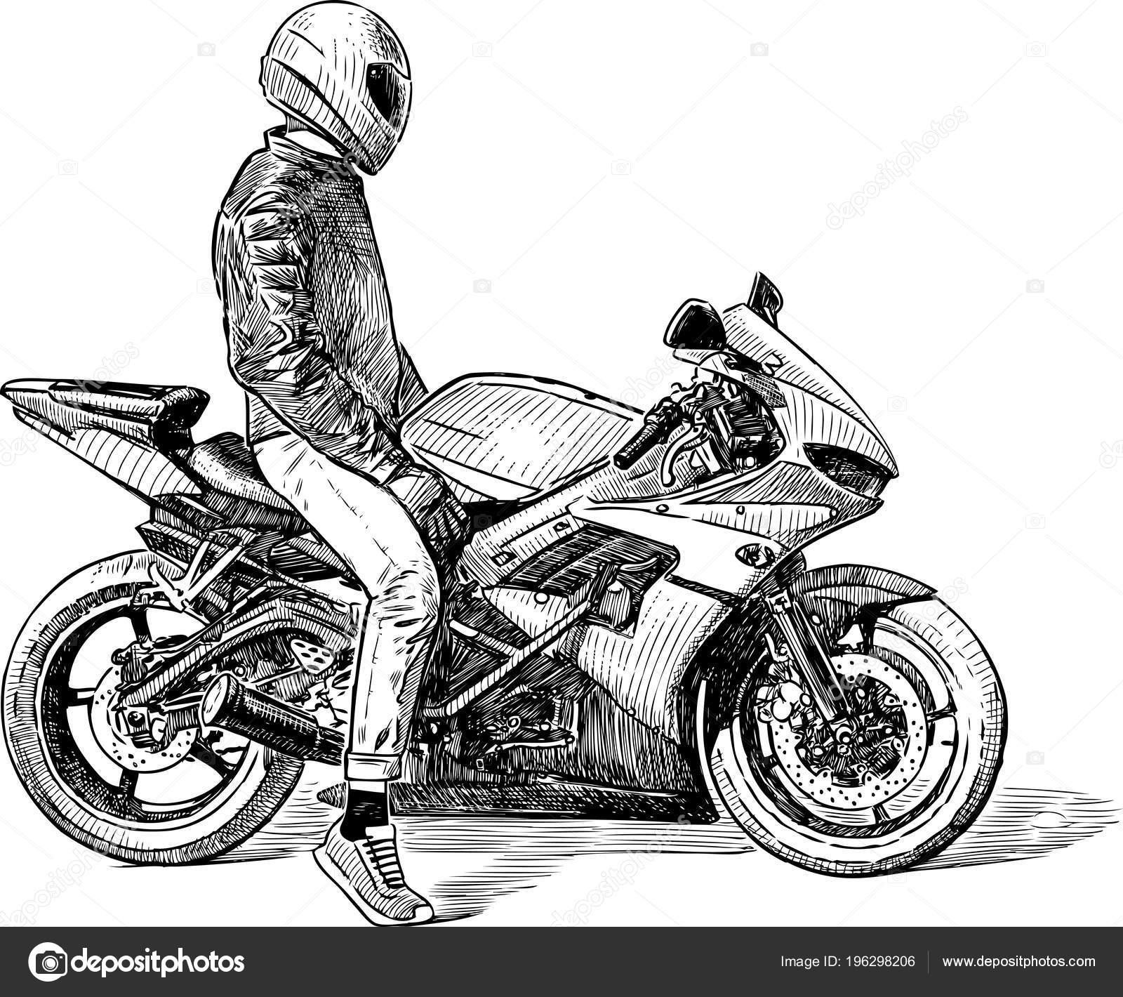 Dibujo Una Persona Una Motocicleta Vector De Stock