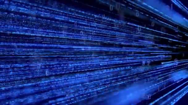 Rychle se pohybující futuristický modrý digitální datový proud s binárním kódem. Looping internet technology motion background animation.