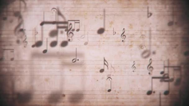 Ročník notace noty rukopis s osnovními řádky a jemně pohyblivé hudební noty. Tento retro, grunge styl pohybu pozadí je bezešvé smyčky.