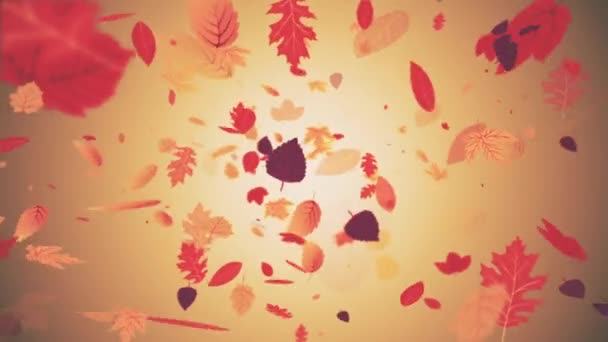 Autumn motion background animation: beautiful autumn colored leaves falling from the sky. Looping and full HD.