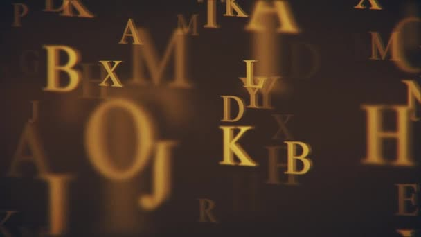 Vintage typographic motion background animation with gold letters of the alphabet gently moving towards the camera. Looping and Full HD.