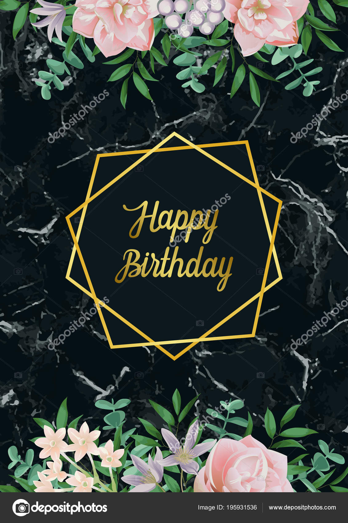 luxury happy birthday card with pink flowers on black marble stock