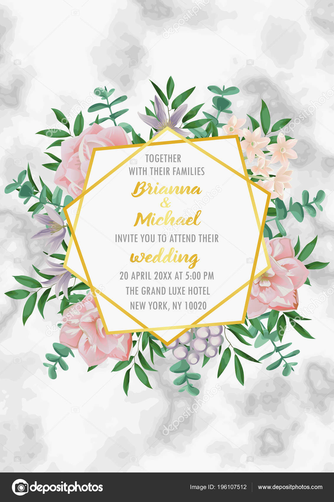 Wedding Invitation With Geometric Frame Flowers And Greenery