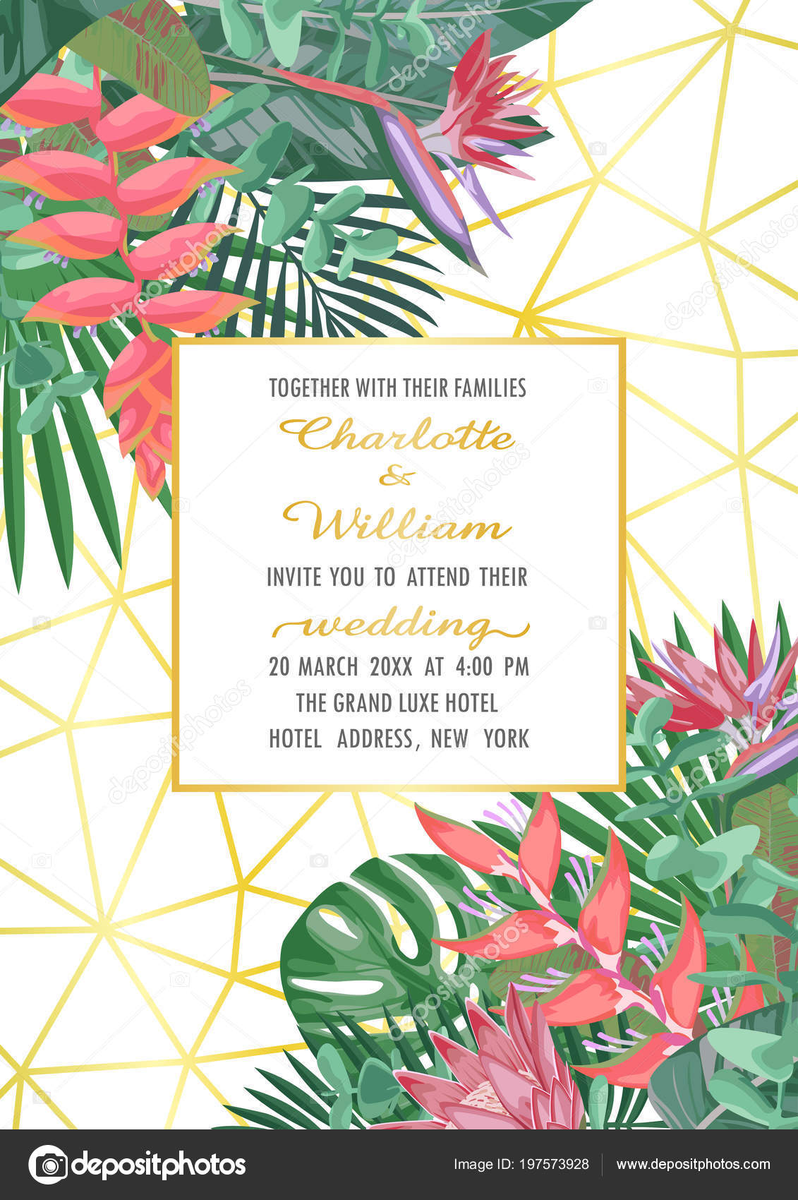 tropical wedding invitation on geometric background stock vector